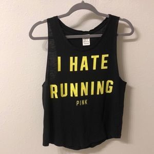 "PINK Victoria's Secret Tops - Victoria's Secret Pink ""I Hate Running"" Tank"